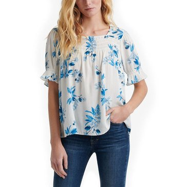 Lucky Brand Women's Square Neck Print Smocked Neck Top