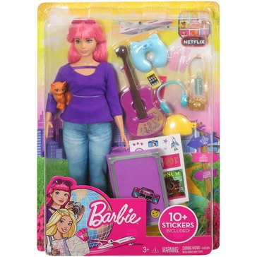 Barbie Pink Haired Daisy Doll with Pet Kitty and Travel Playset