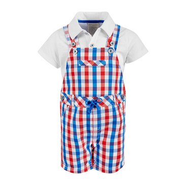 First Impressions Baby Boys' Check Shortall Set