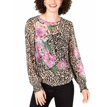 I.N.C. International Concepts Women's Placed Floral On Animal Print Blouse