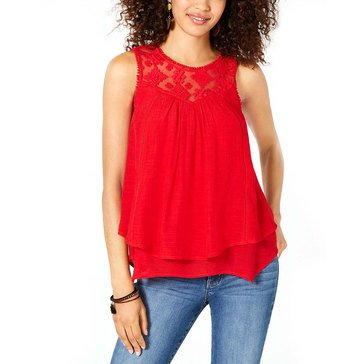 Style & Co Women's Mesh Bodice Double layer Top