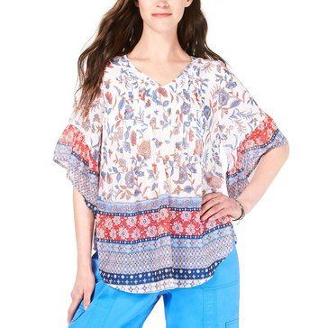 Style & Co Women's Mix Printed Georgette V-Neck Pintuck Blouse