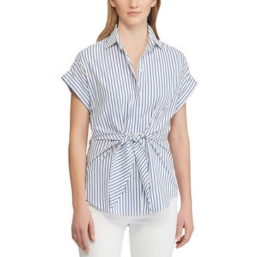 Lauren Ralph Lauren Women's Beach Striped Tie Waist Veanna Shirt
