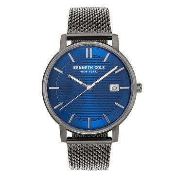 Kenneth Cole New York Men's Gunmetal Blue Dial Gray Stainless Steel Mesh Watch, 42mm