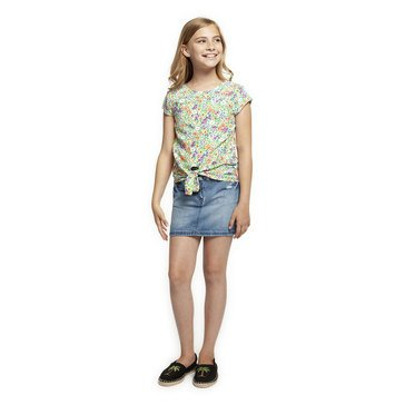 Dex Big Girl's' Front Knot Floral Top