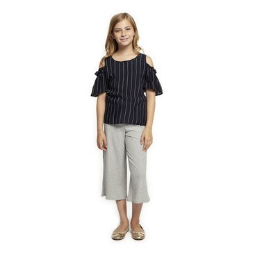 Dex Big Girl's' Striped Cold Shoulder Top