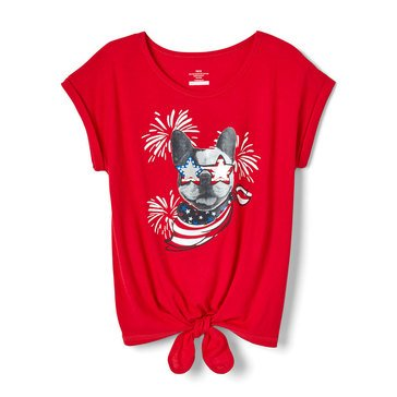 Yarn & Sea Little Girls' Tie Front Graphic Tee