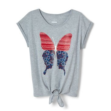 Yarn & Sea Toddler Girls' Tie Front Graphic Tee