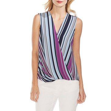 Vince Camuto Women's Sleeveless Stripe Surplice Blouse
