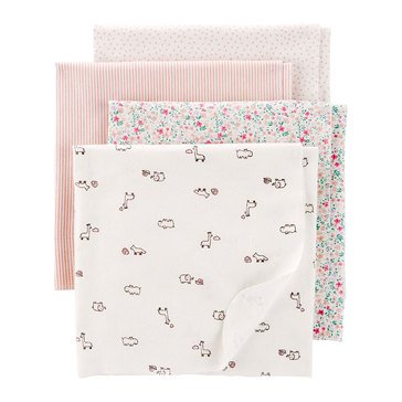 Carter's Baby Girls' 4-Pack Receiving Blankets