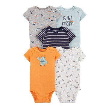Carter's Baby Boys' 5-Pack Monster Original Bodysuits