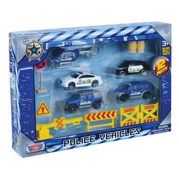 12pc 3 Police Vehicles Set