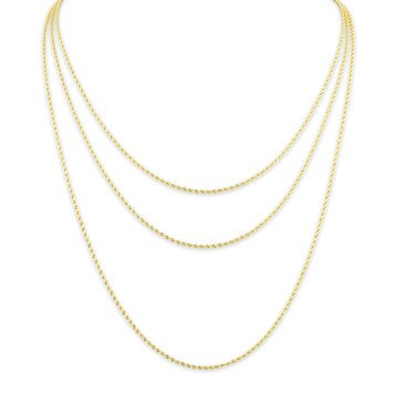 Triple Strand Rope Necklace, 14K