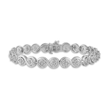 1/4ct Diamond Miracle Late Fashion Bracelet, Sterling Silver