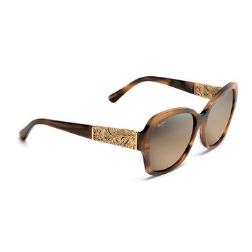 Maui Jim Women's Swaying Palms Brown and Pearl with Yellow Gold Fashion Sunglasses