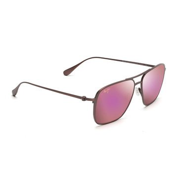 Maui Jim Unisex Beaches Matte Brushed Burgundy Aviator Sunglasses