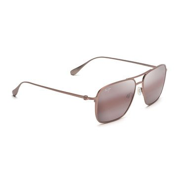 Maui Jim Unisex Beaches Satin Brown Red Aviator Sunglasses