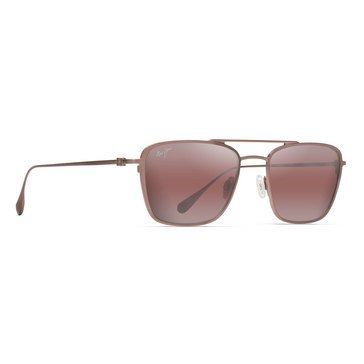Maui Jim Unisex Ebb & Flow Satin Brown Red Aviator Sunglasses