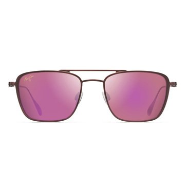Maui Jim Unisex Ebb & Flow Matte Brushed Burgundy Aviator Sunglasses