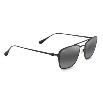 Maui Jim Unisex Ebb & Flow Black Matte Aviator Sunglasses