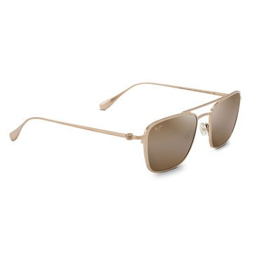 Maui Jim Unisex Ebb & Flow Satin Gold Aviator Sunglasses