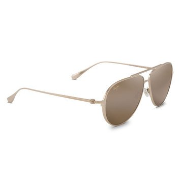 Maui Jim Unisex Shallows Satin Gold Aviator Sunglasses