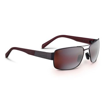 Maui Jim Men's Ohia Satin Dark Gunmetal / Burgundy Rectangular Sunglasses