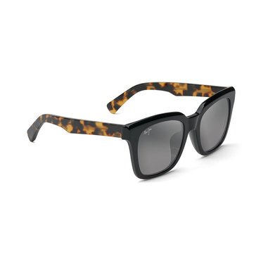 Maui Jim Women's Heliconia Black Gloss with Tokyo Tortoise Temple Fashion Sunglasses