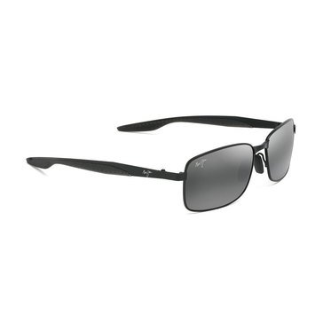 Maui Jim Men's Shoal Gunmetal Black Rectangular Sunglasses
