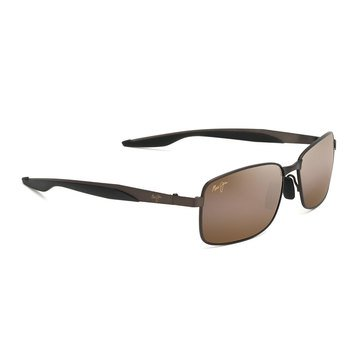 Maui Jim Men's Shoal Matte Brown Rectangular Sunglasses