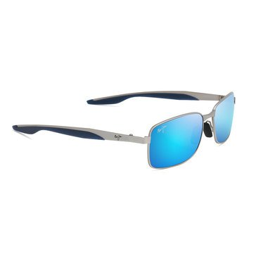 Maui Jim Men's Shoal Matte Silver Rectangular Sunglasses