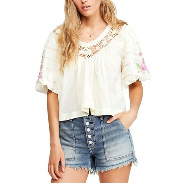 Free People Women's Bohemia Floral & Crochet Cropped Blouse