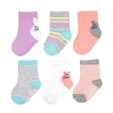 Carter's Baby Girls' 6-Pack Character Heel Socks