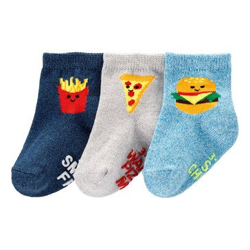 Carter's Baby Boys' 3-Pack Food Crew Socks