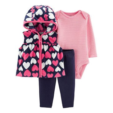 Carter's Baby Girls' 3-Piece Hearts Fleece Vest Set