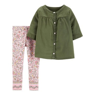 Carter's Baby Girls' 2-Piece Woven Top Pant Set