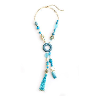 Chico's Women's Tyra Charmy Y-Neck Tassel Necklace