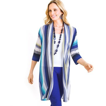 Chico's Women's Stripe Open Front Cardigan