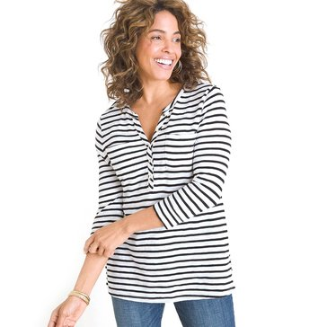 Chico's Women's Cotton Modal Slub Striped Henley Tee