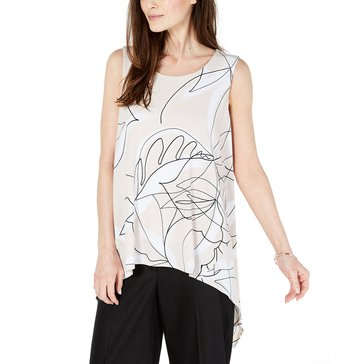Alfani Women's Printed Sharkbite Hemmed Top