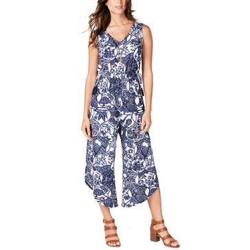Style & Co Women's Batik Printed Cropped Jumpsuit