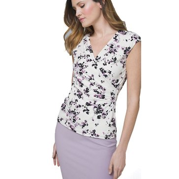 White House Black Market Women's Sleeveless Floral Surplice Knit Top