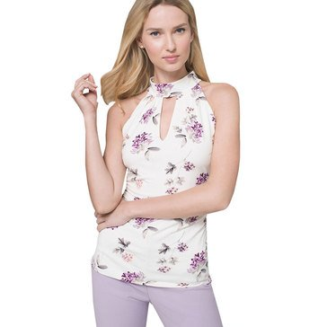 White House Black Market Women's Floral Keyhole Neck Halter Top