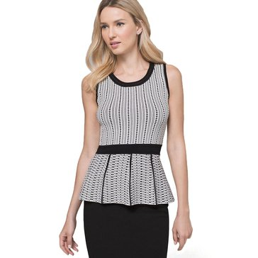 White House Black Market Women's Mixed Jacquard Sleeveless Peplum Sweater