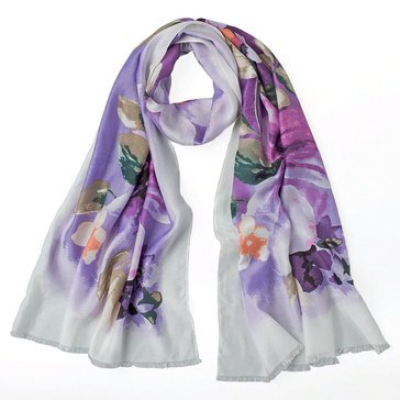 White House Black Market Women's Watercolor Print Silk Oblong Scarf
