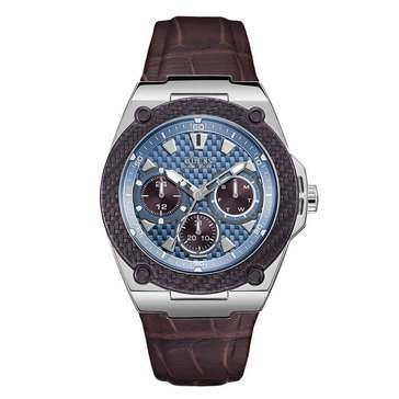 Guess Men's Silver-Tone and Brown Multifunction Watch, 45mm