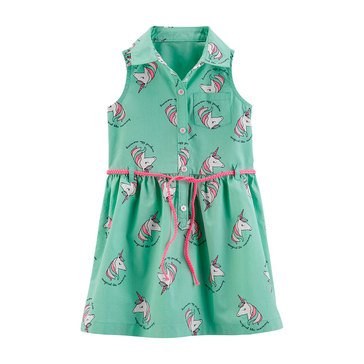 Carter's Little Girls' Unicorn Print Button Up Belt Dress