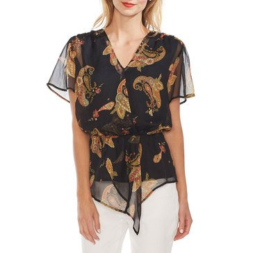 Vince Camuto Women's Sleeveless Cinch Waist Paisley Spice Blouse