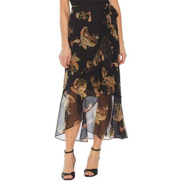 Vince Camuto Women's Faux Wrap Ruffled Paisley Spice Skirt