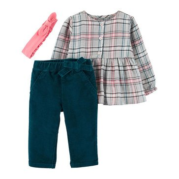 Carter's Baby Girls' 3-Piece Headband Top and Pant Set